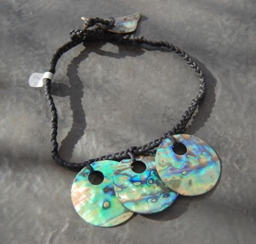 Paua 3Hollow Pleated Cord Necklace WAS £32 PN05